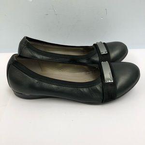 Ecco flats shoes women size 37 US 6 black leather